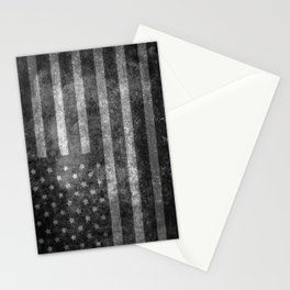 Black and White USA Flag in Grunge Stationery Cards