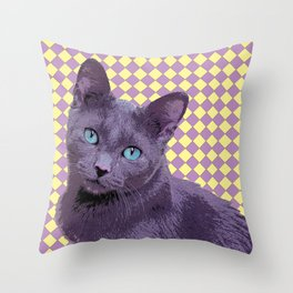 Checkerboard Cat Throw Pillow