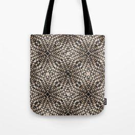 Black and Tan Geometric Modern Chrysanthemum Pattern Tote Bag
