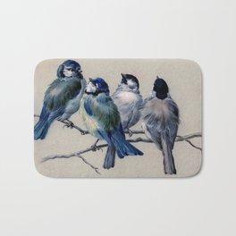 Vintage Cute Blue Birds on Branch Bath Mat