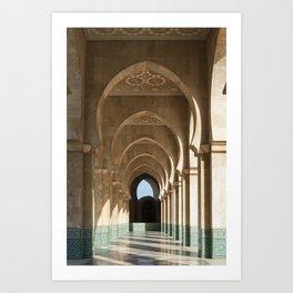 Hassan II Mosque Arcade, Casablanca Art Print