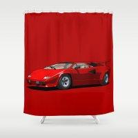 lamborghini Shower Curtains featuring Lamborghini Countach 5000QV Rosso Siviglia (US spec) by Digital Car Art