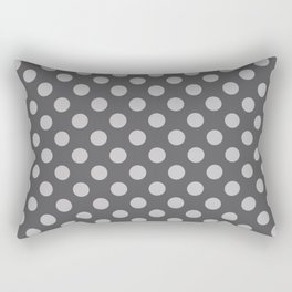 Large Polka Dots in Light Gray on Charcoal Gray Rectangular Pillow