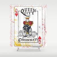 cincinnati Shower Curtains featuring Queen of Cincinnati Bike Print by Jeni Jenkins | Uncaged Bird Studio