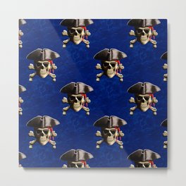 Jolly Roger In Pirate Hat Metal Print