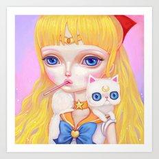 Sailor Venus Snacking On Pocky Art Print