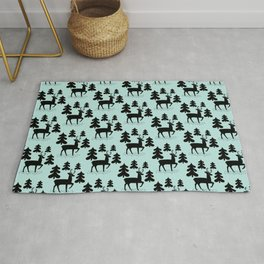 Deer In The Forest Blue Pattern Rug