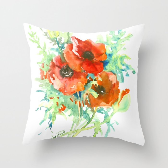 Red Poppies Flowers French Country Style Field Throw Pillow