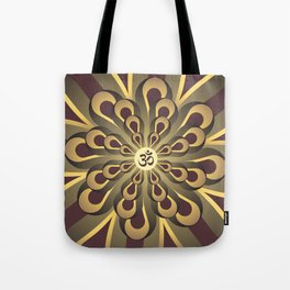 Om Mandala, Purple and Gold Fractal, Spiritual Gift, Yoga Lifestyle Tote Bag