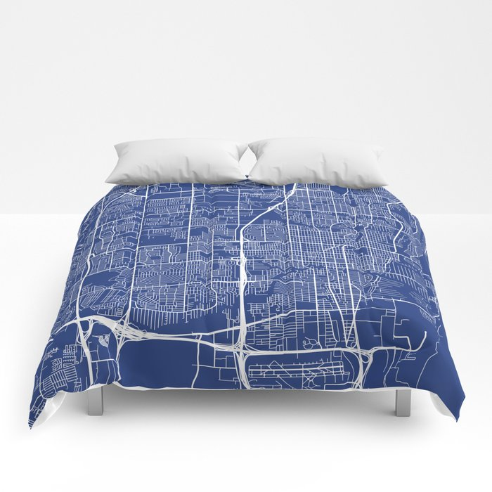 Fort Lauderdale Map, USA - Blue Comforters