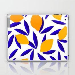 Blue and yellow Lemon Summery Pattern Laptop & iPad Skin