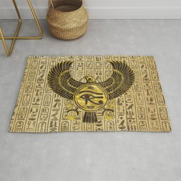 Egyptian Eye of Horus - Wadjet Gold and Wood Rug