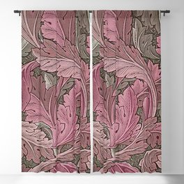 Acanthus Red Grey Blackout Curtain