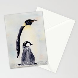 Maman et bébé manchot - mother and baby pinguin Stationery Cards