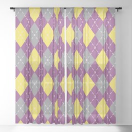Gray Yellow and Purple Argyle Pattern V10 Pantone 2021 Colors of the Year & Accent Shades Sheer Curtain