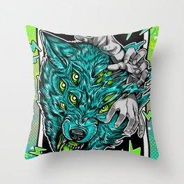 Wolf Snarl Throw Pillow