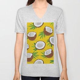 Coconut Pattern on Yellow Background Unisex V-Neck