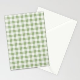 Gingham Pattern - Natural Green Stationery Cards