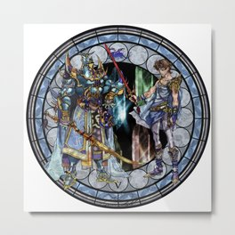 Final Fantasy V Stained Glass Drawing  Metal Print