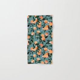 Dear Clementine - oranges teal by Crystal Walen Hand & Bath Towel