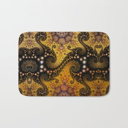 Golden dragon spirals and circles, fractal art Bath Mat