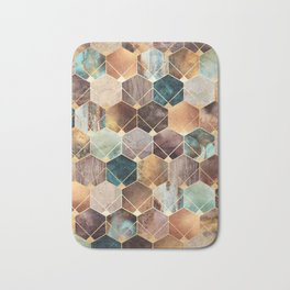 Natural Hexagons And Diamonds Bath Mat
