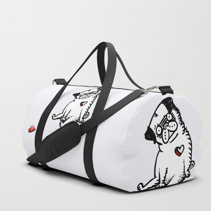 Faded Heart Pug Duffle Bag