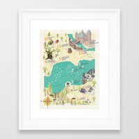 princess bride Framed Art Prints featuring Princess Bride Discovery Map by Wattle&Daub