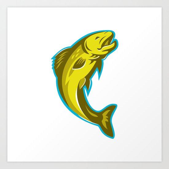 trout fish jumping retro Art Print