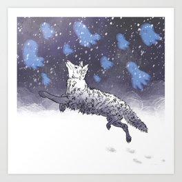 Coyotes Tip-Toe in the Snow After Dark Art Print