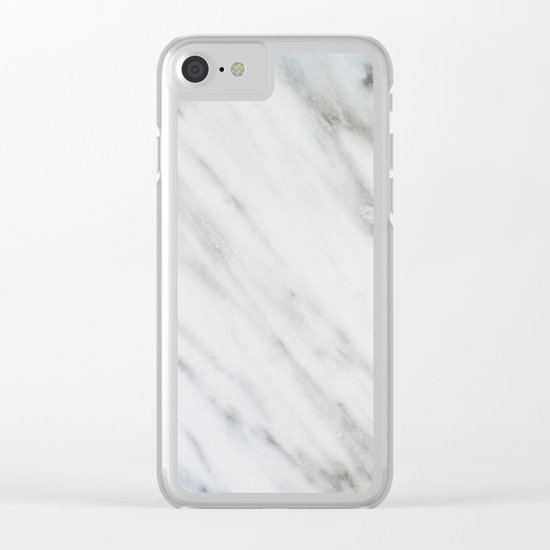 Carrara Italian Marble Clear iPhone Case