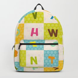 alphabet  from A to Z. Polka dot background with green blue orange square Backpack