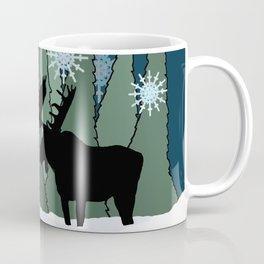 Moose in the Snowy Forest Coffee Mug