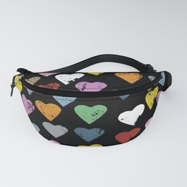 Distressed Hearts Heart Black Fanny Pack
