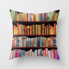 Book Lovers Gifts, Antique bookshelf Throw Pillow
