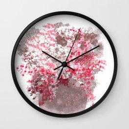 Plum Peppermint Flower Bouquet Wall Clock