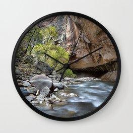 Photo Zion National Park USA Utah Crag Canyon Nature river stone Rock Cliff canyons Rivers Stones Wall Clock