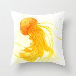 Yellow Jellyfish Throw Pillow