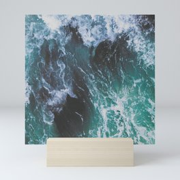 Deep Green and Turquoise Ocean Water and Sea Waves Mini Art Print