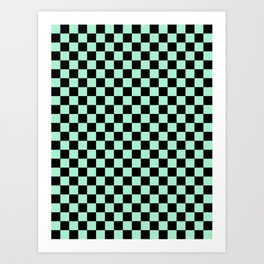 Black and Magic Mint Green Checkerboard Art Print