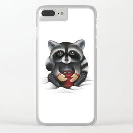 Raccoon with Hot Chocolate Clear iPhone Case