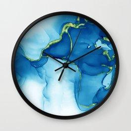 elegant golden turquoise effect Wall Clock