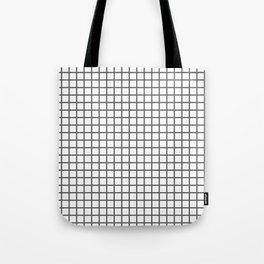 Dark Grey Grid Pattern Tote Bag