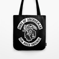 anchorman Tote Bags featuring Sons of Anchorman by Brandon Wilhelm ART