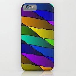 Slanting rainbow lines and rhombuses on violet with intersection of glare. iPhone Case