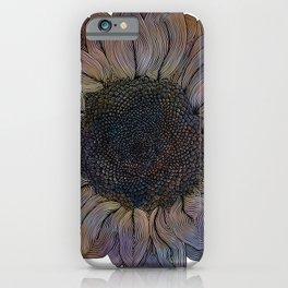 Linework Pastel Sunflower Drawing iPhone Case