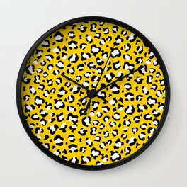 Animal Print, Spotted Leopard - Yellow Black Wall Clock