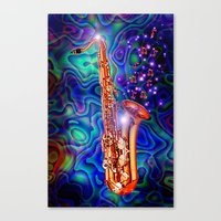 saxophone Canvas Prints featuring Saxophone by JT Digital Art