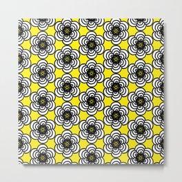 Yellow and Black Flowers Metal Print