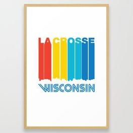 Retro 1970's Style La Crosse Wisconsin Skyline Framed Art Print